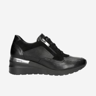 Czarne sneakersy damskie z ozdobnym zamkiem  46091-71