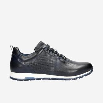 Sportovní pánské kožené boty v granátové barvě 10039-56
