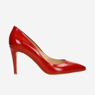Klasyczne czerwone skórzane szpilki damskie 35057-55