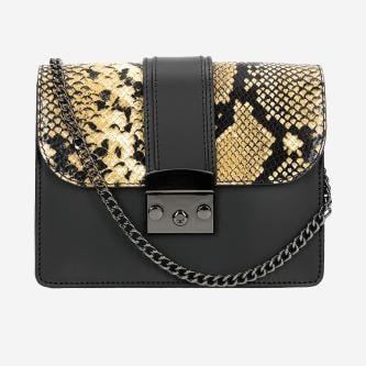 Mała czarna torebka z żółtymi motywami zwierzęcymi 80056-81