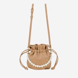 WJS beżowa torebka damska z ozdobnymi perełkami WJS76053-54