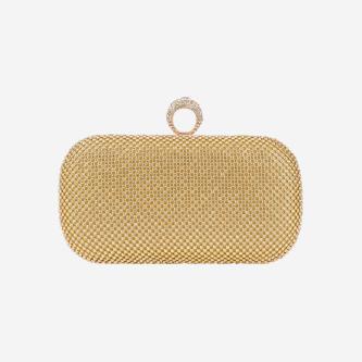 WJS wieczorowa torebka w kolorze złotym z kryształkami WJS76059-18