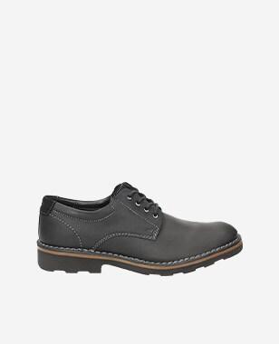 Decentní pánské kožené boty z kvalitní černé kůže 5084-71