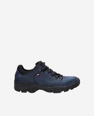 Pánske botasky na treking z modrej kože typu crazy horse 9377-90