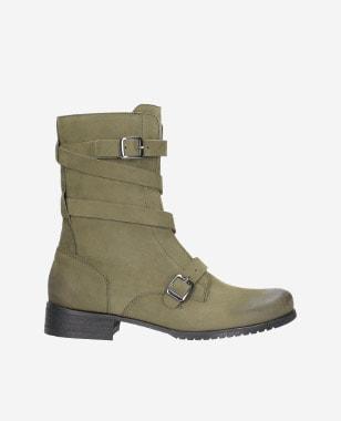 Khaki kotníkové boty dámské s kovovými sponami 8578-27