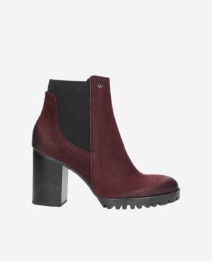 Podzimní dámské kotníkové boty v odstínu bordó 8594-25