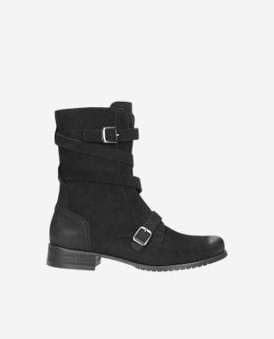 Černé kotníkové boty dámské s kovovými sponami 8578-21
