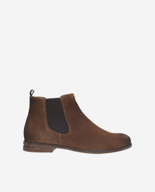 Hnědé kožené kotníkové boty dámské typu chelsea 9503-62