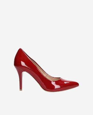 Červené lakované dámské lodičky na vysokém podpatku 9275-35