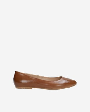 Hnědé dámské balerínky z kvalitní hladké kůže 6420-53