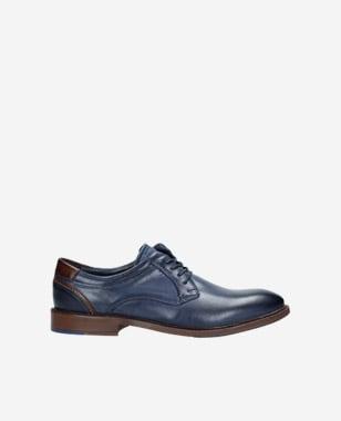 Kožené pánské boty z námořnické modré lícové kůže 9071-56