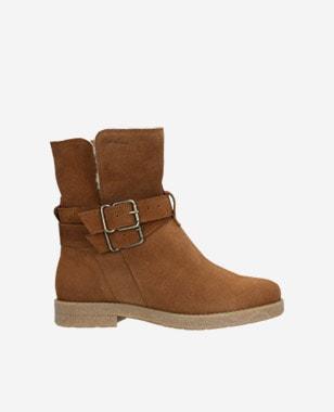 Světle hnědé kotníkové boty dámské z velurové kůže 9587-63
