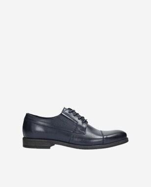 Pánské kožené boty z tmavě modré lícové kůže 9070-56