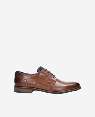 Hnědé pánské kožené boty s jemnou perforací 10007-73