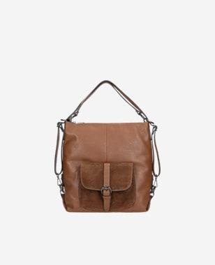 Duża brązowa funkcjonalna torebka plecak 2w1 80021-73