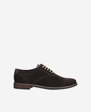 Decentní pánské letní boty v černo hnědé variantě 9064-82
