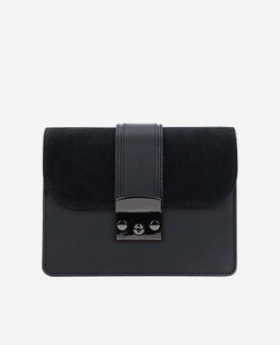 Czarna torebka damska z wymienną klapką 80056-71