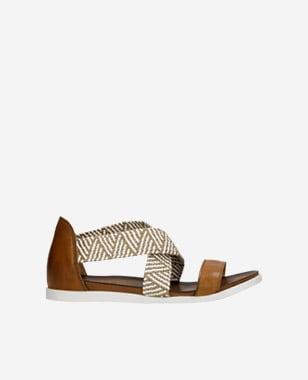Letné dámske sandále z hnedej lícovej kože 76018-83
