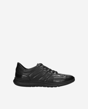 Čierne kožené pánske sneakersy ako vychádzková obuv 10038-51