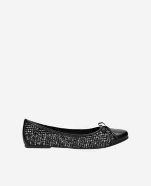 Černé dámské balerínky z kvalitní kůže a textilu 44004-81