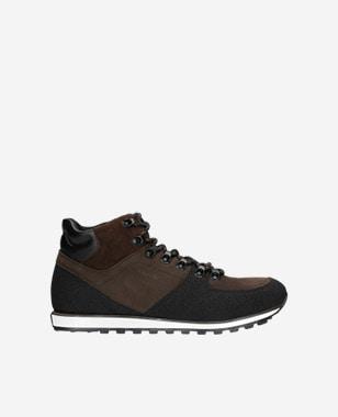Brązowoczarne sneakersy męskie z ociepleniem 24010-72