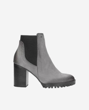 Dámske členkové topánky zo sivej kože do práce aj von 55095-80