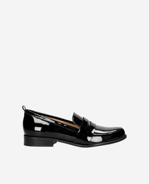 Čierne lesklé mokasíny dámske pre každú elegantnú ženu 46004-31