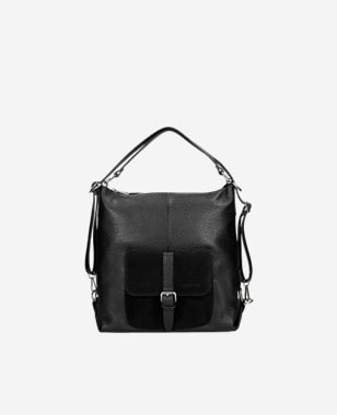 Czarna duża torebka plecak 2w1 z kieszenią na przodzie 80021-71