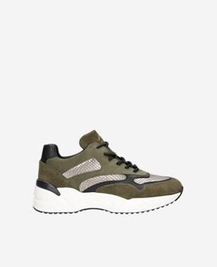 Tmavě zelené botasky dámské z kombinace kvalitních kůží 46067-87