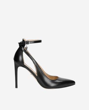 Elegantné dámske lodičky z čiernej lícovej kože 35054-51