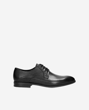 Černé pánské kožené boty s detailem na patě 10002-51