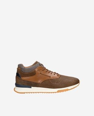 Jasnobrązowe trzewiki męskie typu sneakers 24024-83