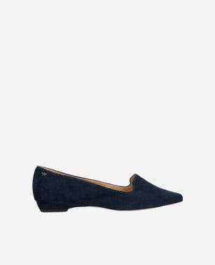 Modré polobotky dámské z kvalitní velurové kůže 45005-66