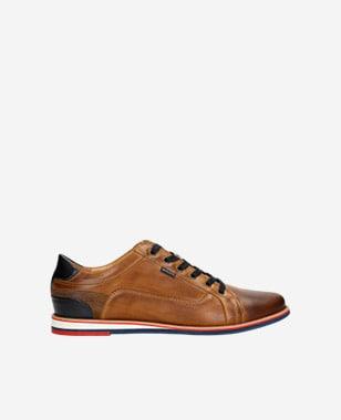 Sneakersy męskie w kolorze jasnego brązu z granatowymi wstawkami 10023-53