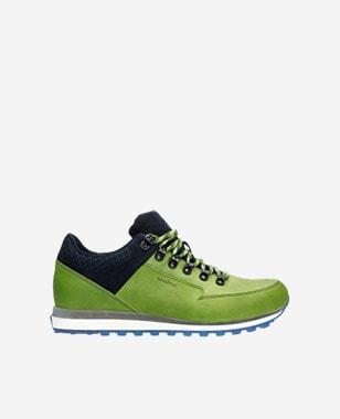 Kožené botasky pánské v zelené barvě s granátovými detaily 10078-77