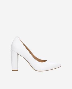 Eleganckie białe czółenka damskie ze skóry licowej 35042-59