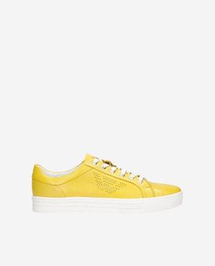 Kožené dámske sneakersy v žltom farebnom prevedení 46084-58