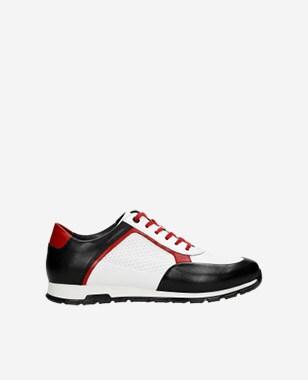 Bíločerné botasky pánské s červenými detaily 10082-79