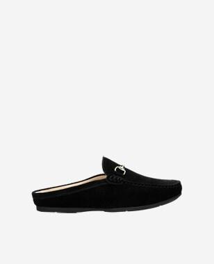 Czarne klapki damskie - mokasyny bez pięty 74033-61