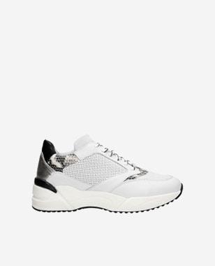 Bílé kožené dámské sneakers s kontrastními detaily 46099-79