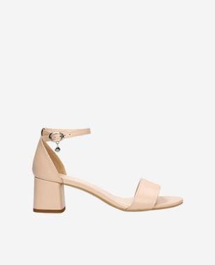 Beżowe sandały damskie na klocku 76051-54