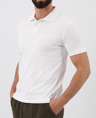 Pánské tričko s límečkem v čisté bílé barvě 98008-89