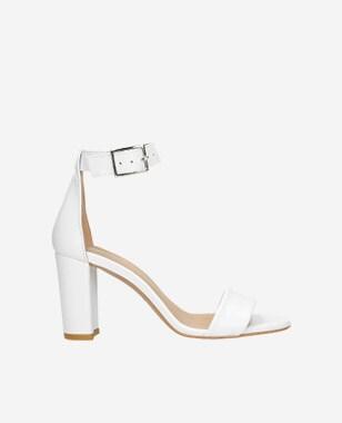 Elegantné biele kožené dámske sandále na leto 76028-59