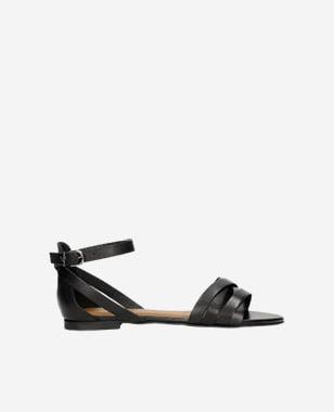 Štýlové dámske sandále z čiernej lícovej kože 76015-51