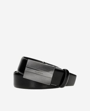 Czarny skórzany pasek męski z elegancką pełną klamrą 93038-51