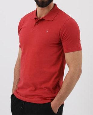 Pánské tričko s límečkem v červené barvě 98008-85