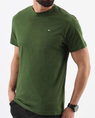 Zelené pánské tričko s kulatým výstřihem 98010-87