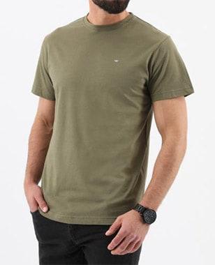 Pánské tričko s kulatým výstřihem v barvě khaki 98010-88