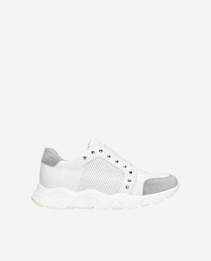 Białe sneakersy damskie z szarymi elementami  46090-89