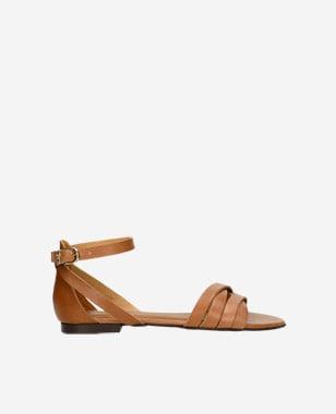 Štýlové dámske sandále z hnedej lícovej kože 76015-53